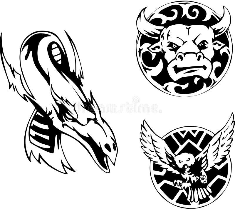 projekta zwierzęcy tatuaż royalty ilustracja