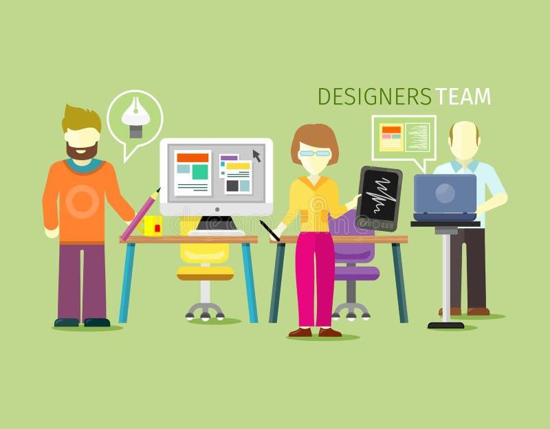 Projektant drużyny mieszkania Grupowego stylu ludzie ilustracja wektor
