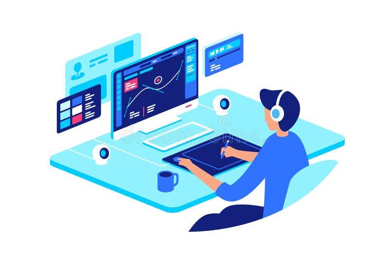 Projektant grafik komputerowych przy pracą z zaawansowany technicznie wyposażeniem royalty ilustracja