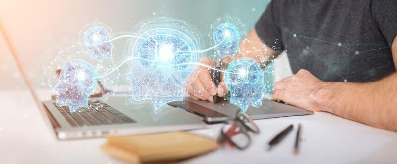 Projektant grafik komputerowych tworzy sztucznej inteligenci 3D rendering ilustracja wektor