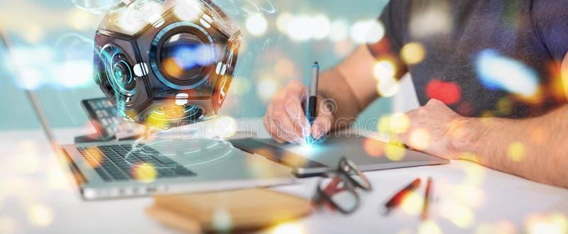 Projektant grafik komputerowych używa futurystycznego truteń kamery bezpieczeństwa 3D rende ilustracji