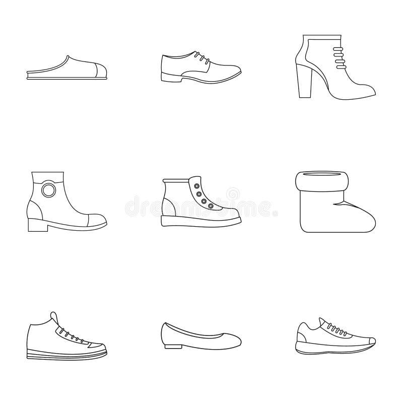 Projektant kuje ikony ustawiać, konturu styl royalty ilustracja