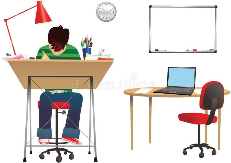 Projektant przy biurkiem ilustracji