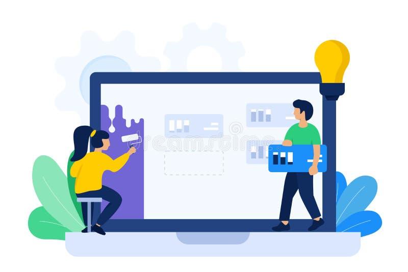 Projektanta i przedsiębiorcy budowlanego współpracy ilustracja ilustracja wektor