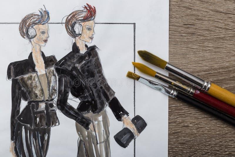 Projektanta mody rysunek fotografia stock