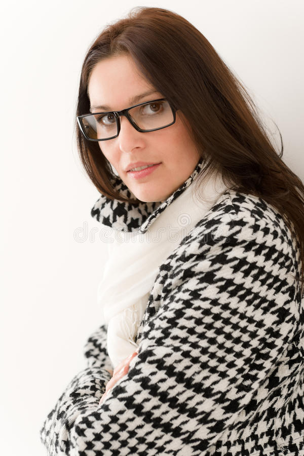 projektanta mody szkieł portreta zima kobieta zdjęcia stock