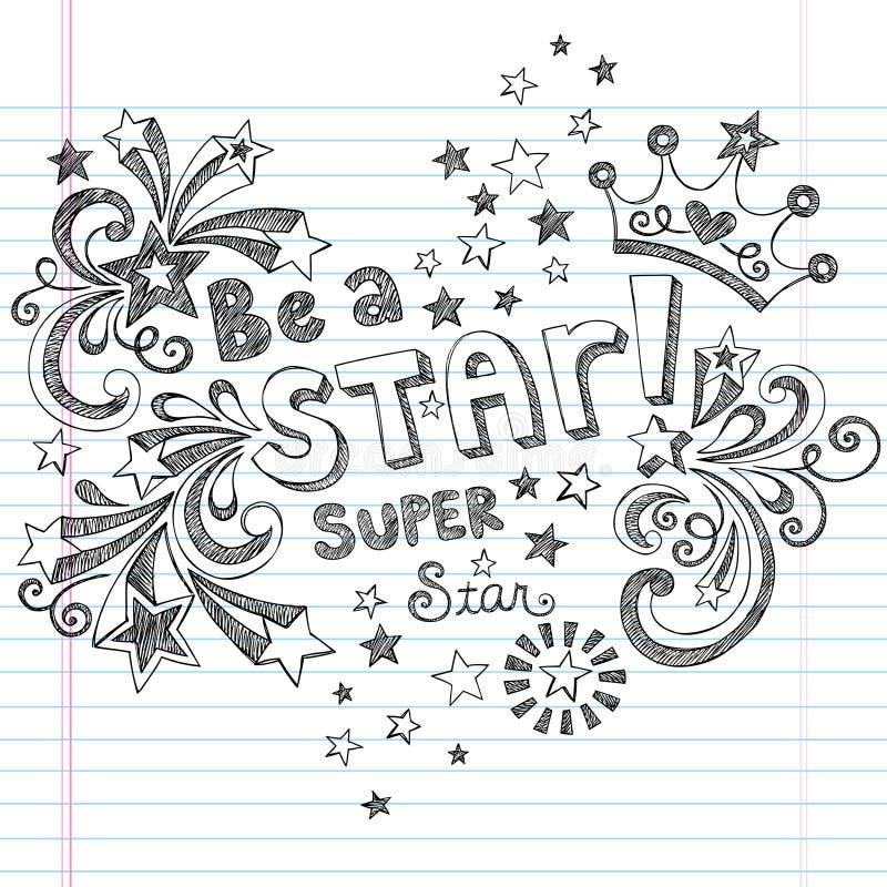 Projektem jest Gwiazdowych Szkicowych Szkolnych Doodles Wektorowym ilustracja wektor