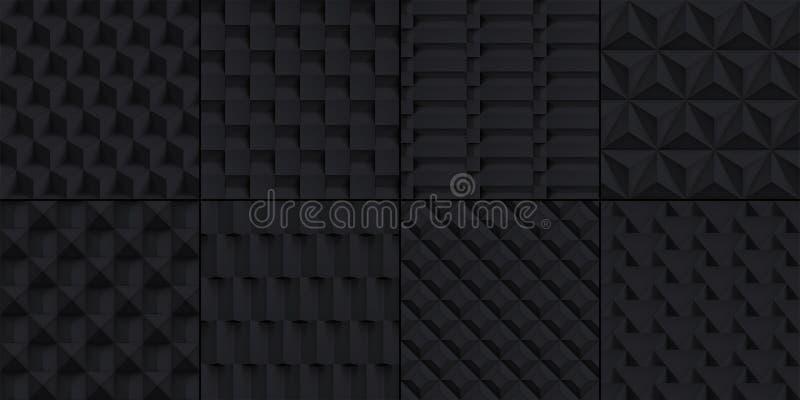 Projektiert die realistischen eingestellten Würfelbeschaffenheiten mit 8 Volumen, schwarze geometrische Muster, dunkle Hintergrün vektor abbildung
