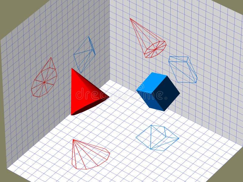 Projektion för beskrivande geometri 3D stock illustrationer