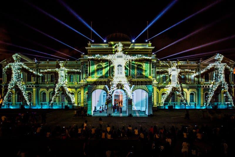 Projektioner på Singapore det nationella museet fotografering för bildbyråer