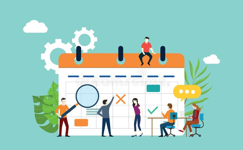 Projektkalenderzeitplan mit dem Büroteam, das und - Vektor besprechen zusammenarbeitet lizenzfreie abbildung