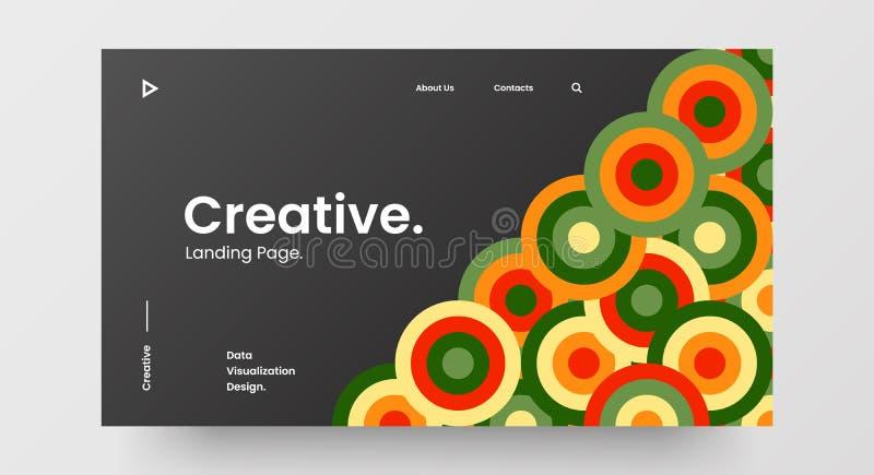 Projektlayout för vågrät responssnabb webbdesign Modell för att basera en abstrakt geometrisk mönsterbanderoll Mall för länkande  royaltyfri illustrationer