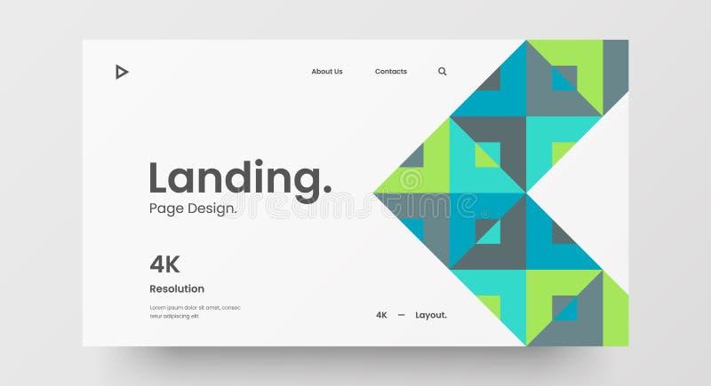Projektlayout för vågrät responssnabb webbdesign Modell för att basera en abstrakt geometrisk mönsterbanderoll Mall för länkande  vektor illustrationer