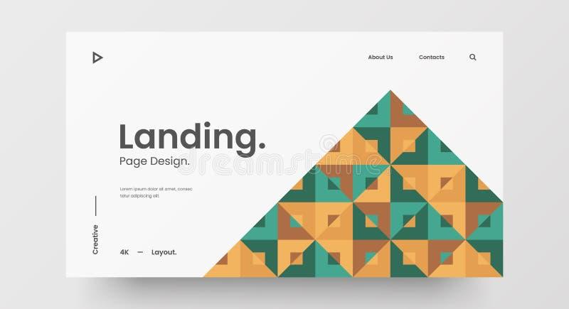 Projektlayout för vågrät responssnabb webbdesign Modell för att basera en abstrakt geometrisk mönsterbanderoll Mall för länkande  stock illustrationer