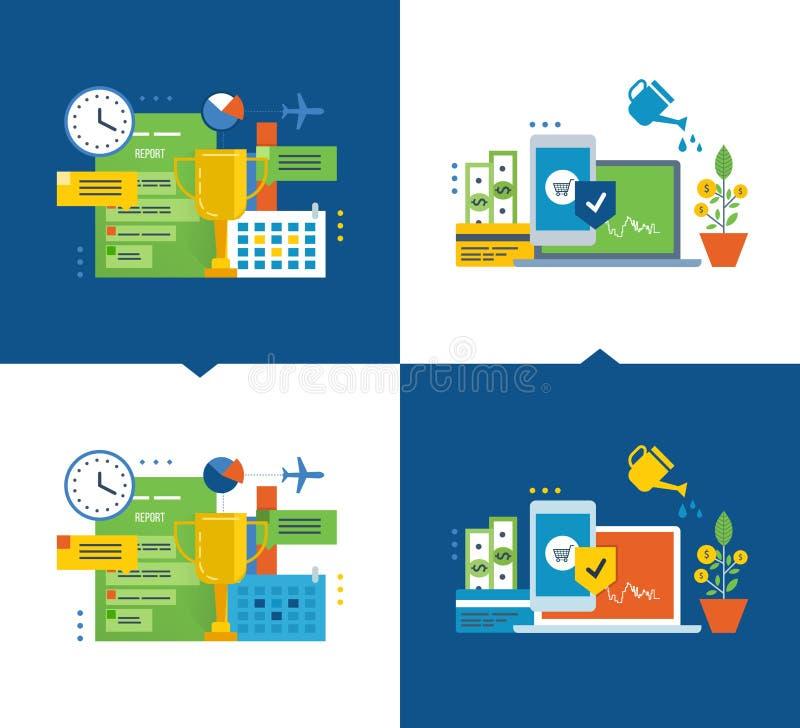 Projektledning, ledningeffektivitet, kontroll, skydd av investeringar och betalningar stock illustrationer