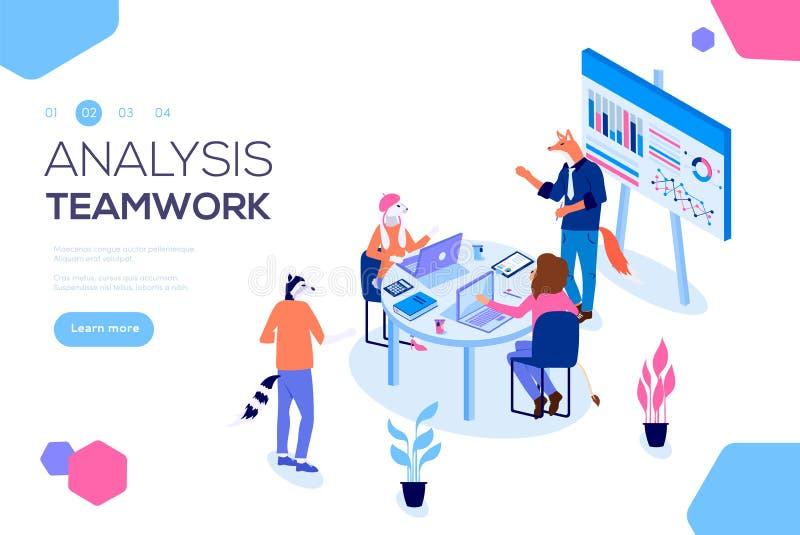 Projektledning och finansiell rapportstrategi Konsulterande lag Samarbetsbegrepp med kollaborativt folk vektor illustrationer