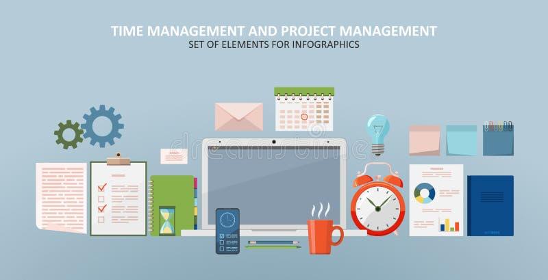 Projektledning och tidmenegement stock illustrationer