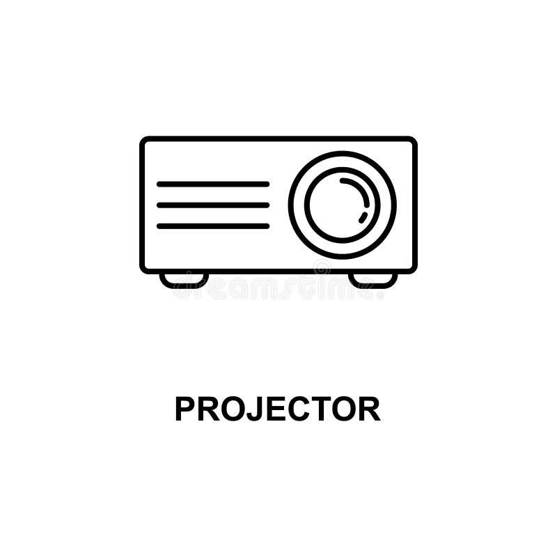 Projektor ikona Element kino dla mobilnych pojęcia i sieci apps Cienka kreskowa projektor ikona może używać dla sieci i wiszącej  ilustracja wektor
