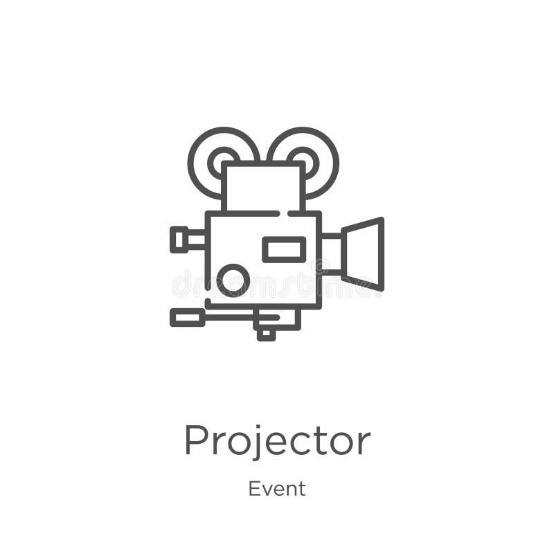 projektor ikony wektor od wydarzenie kolekcji Cienka kreskowa projektoru konturu ikony wektoru ilustracja Kontur, cienieje kresko royalty ilustracja