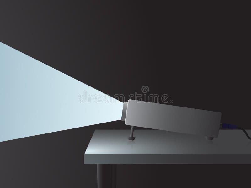Projektor mit einem Lichtstrahl lizenzfreie abbildung