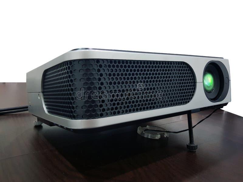 Projektor på den wood tabellen fotografering för bildbyråer
