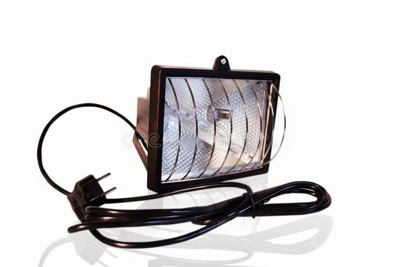 Projektor på isolerad vit bakgrund Belysning och elektricitet royaltyfri fotografi
