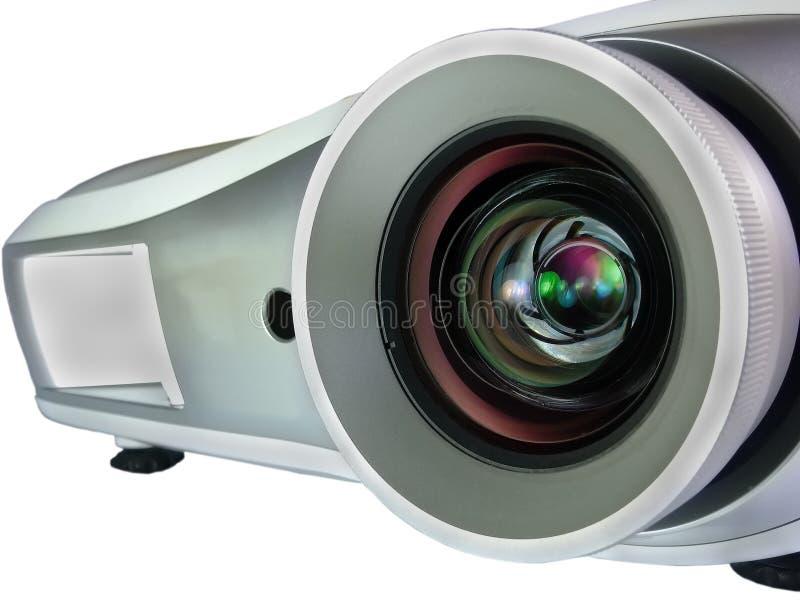 Projektor som isoleras på den vita bakgrundscloseupen arkivfoto