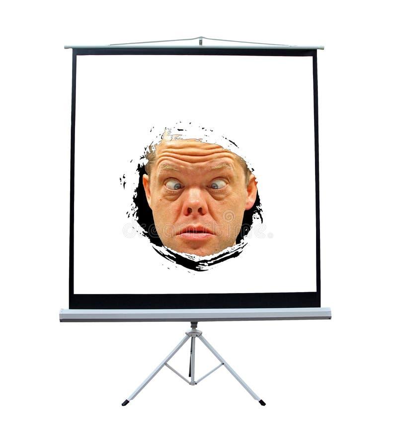 Projektorschirmgesicht des Horrors stockfotografie