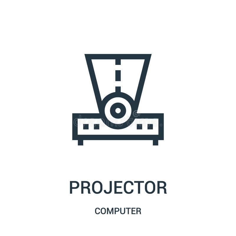 projektorsymbolsvektor från datorsamling Tunn linje illustration för vektor för projektoröversiktssymbol vektor illustrationer