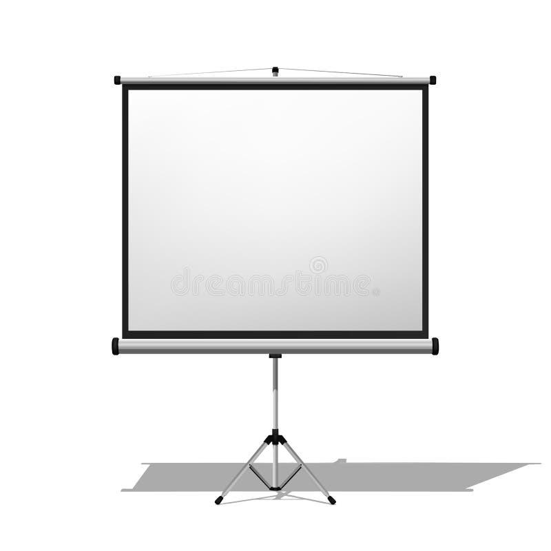 Projektoru ekran pojedynczy białe tło ilustracji
