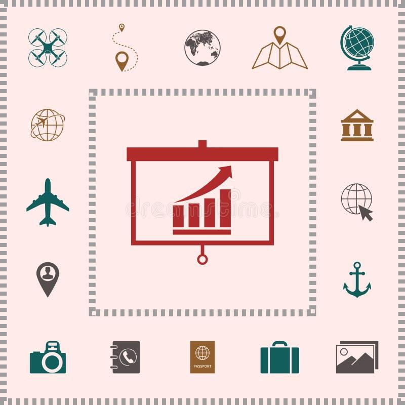 Projektoru ekran z dorośnięciem zakazuje grafikę elementy projektów galerii ikony widzą odwiedzić twój więcej moich piktogramy pr royalty ilustracja