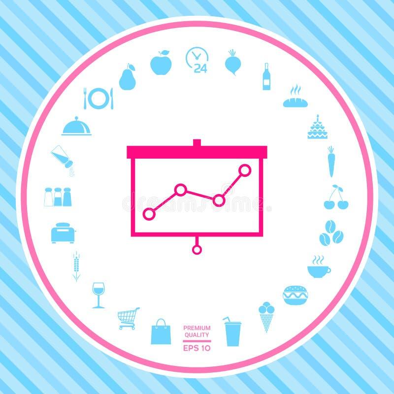 Projektoru ekran z wykresem ilustracja wektor