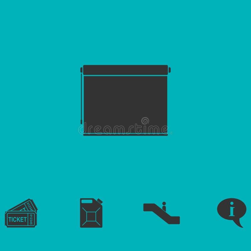 Projektoru rolownika ekranu ikony mieszkanie royalty ilustracja
