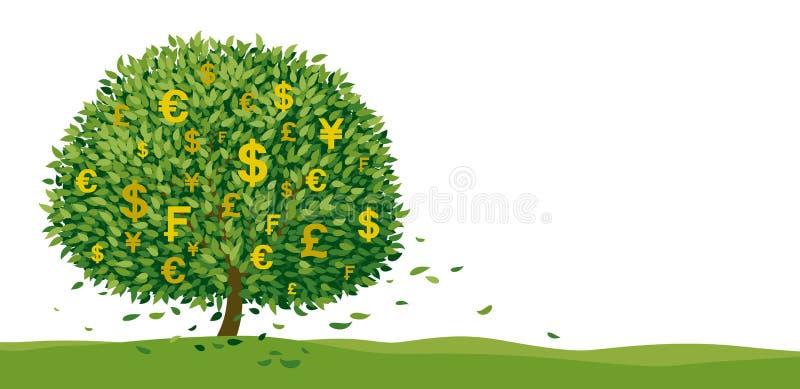 Projektowanie drzewa monetarnego na białym tle z ilustracją wektora przestrzeni kopiowania ilustracji