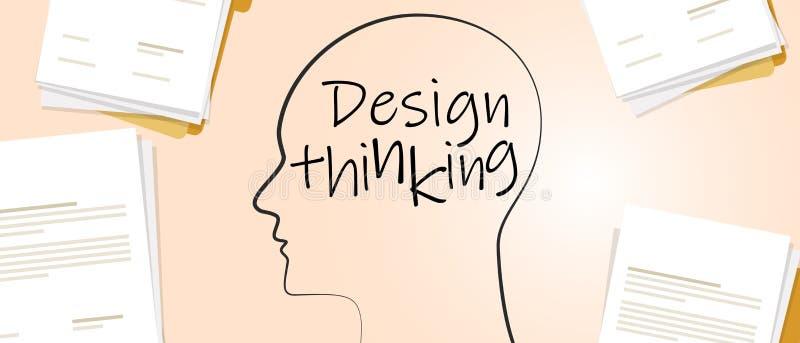 Projektowanie koncepcji myślenia o rozwiązywaniu problemu poprzez podejście projektanta papier i pisanie royalty ilustracja