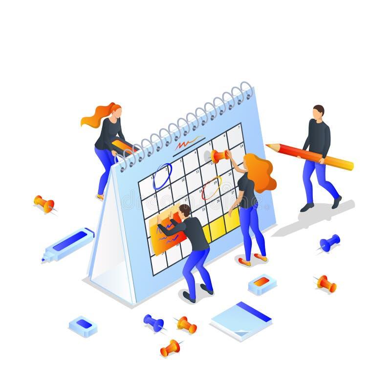 Projektplanung, Zeitmanagementkonzept Isometrische Illustration des Vektors 3d Team macht Zeitplan von den Sitzungen und von den  lizenzfreie abbildung
