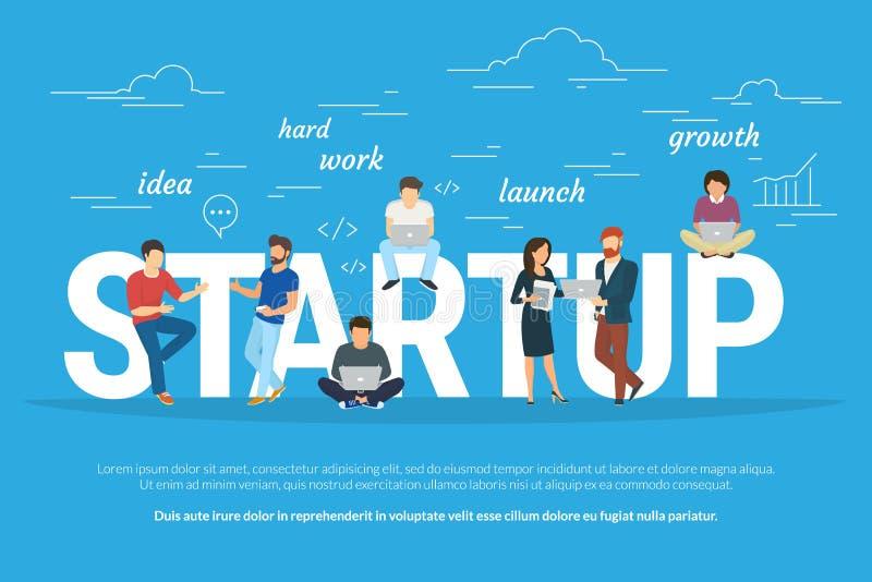 Projektstartkonzeptillustration von den Geschäftsleuten, die als Team zusammenarbeiten stock abbildung