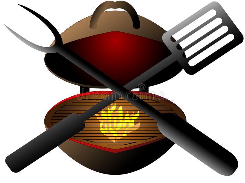 Projektujący ogrodowy grill przygotowywający dla grilla ilustracja wektor