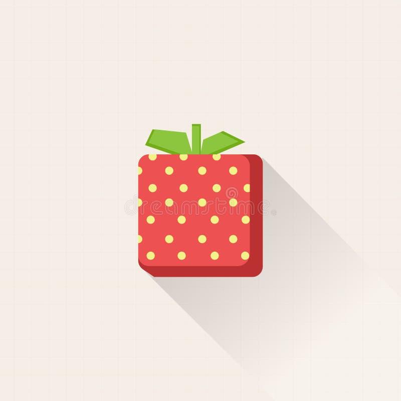 Projektuje świeżą truskawkową ikonę z pastelowym siatki tła wektorem 3d truskawki symbol royalty ilustracja