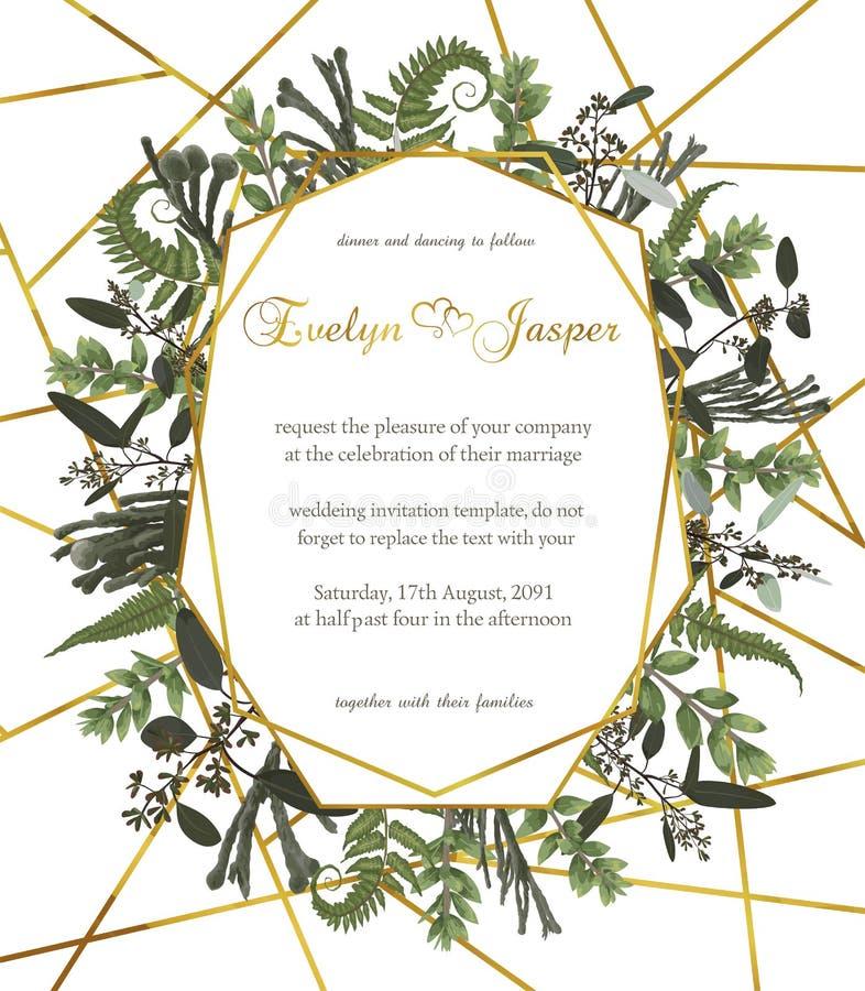 Projektuje akwareli wektorową geometryczną złotą ramę na białym tle z liśćmi lasowe paproci, boxwood i eukaliptusa gałąź, ilustracja wektor