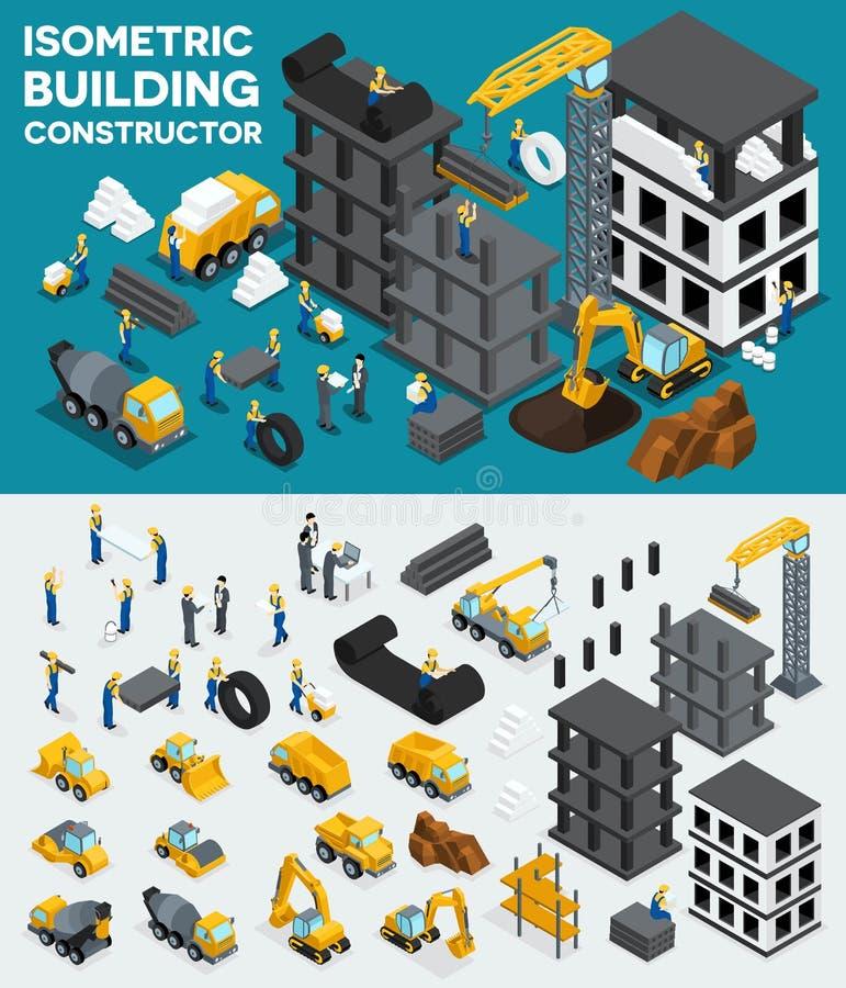 Projektuje budować isometric widok, tworzy twój swój projekt, budynek budowa, ekskawacja, ciężki wyposażenie, ciężarówki, budowa  ilustracji