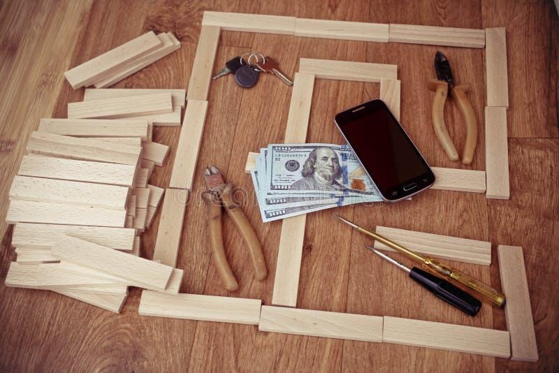 Projektuje dom, budowa plan dla domowego budynku, klucz obraz stock