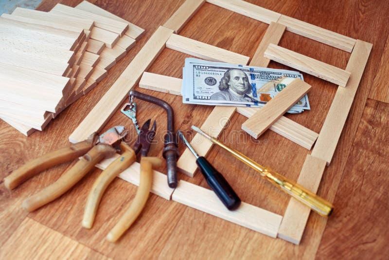 Projektuje dom, budowa plan dla domowego budynku, klucz obraz royalty free