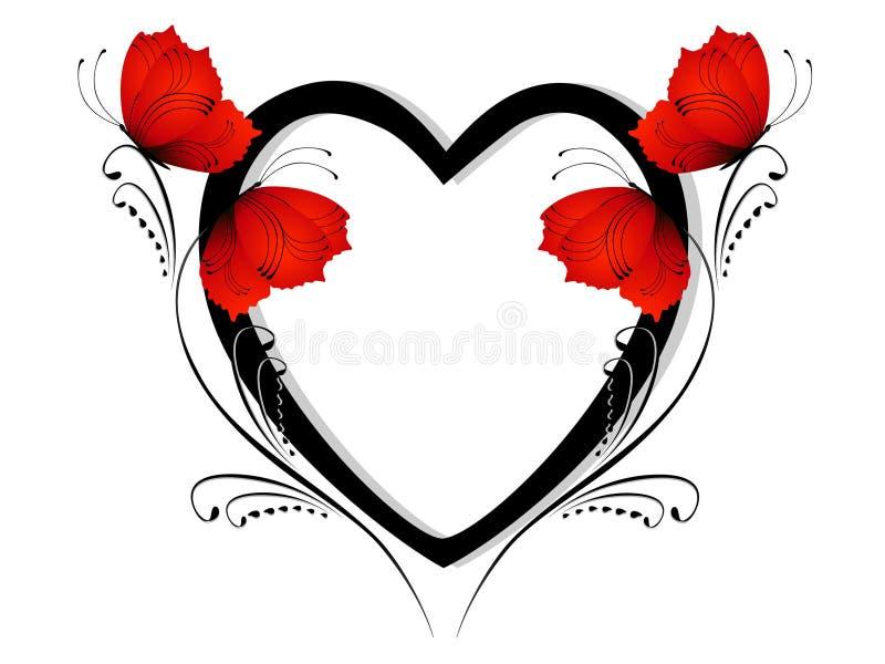 Projektuje element, czarny serce z czerwonymi motylami na gałąź royalty ilustracja