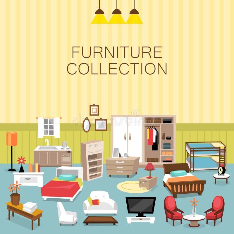 Projektuje elementu i meble kolekcję dla domowego wnętrza ilustracja wektor