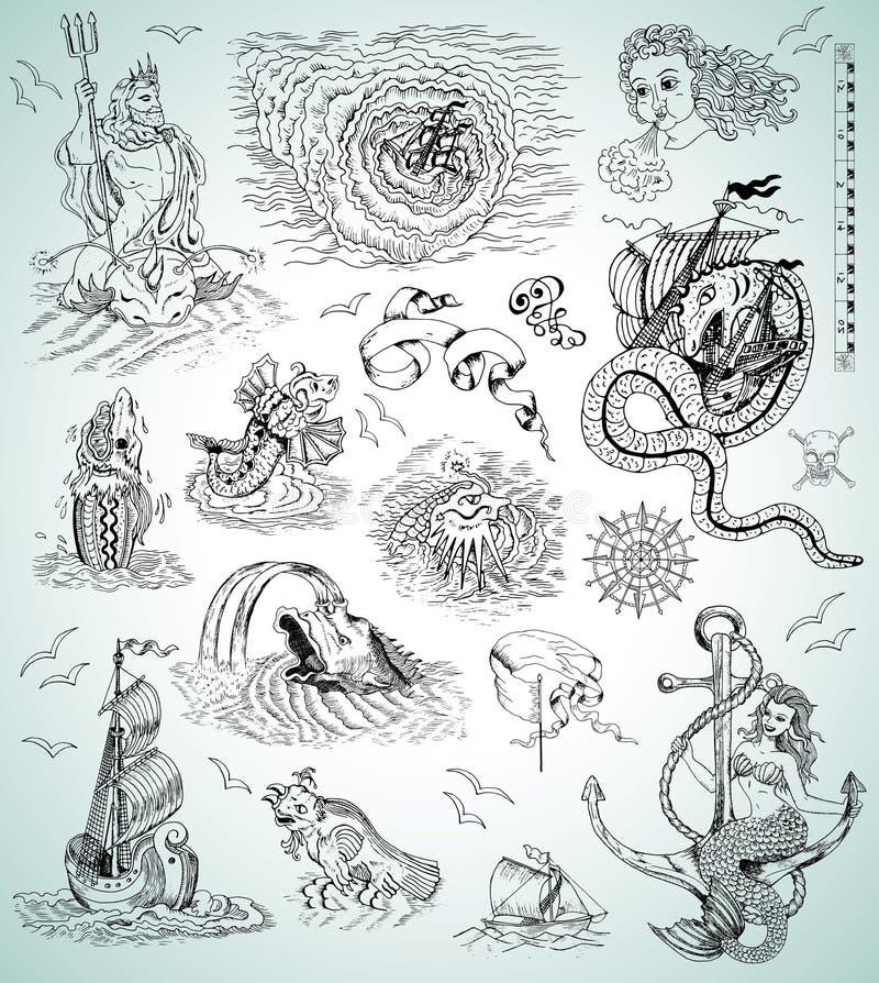 Projektuje kolekcję z dennymi mythologycal istotami, statkami, syrenką i symbolami, ilustracji