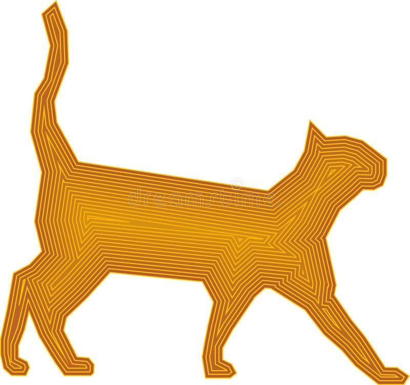 Projektuje kota w brązu kolorze żółtym jako ilustracyjny wektor ilustracja wektor