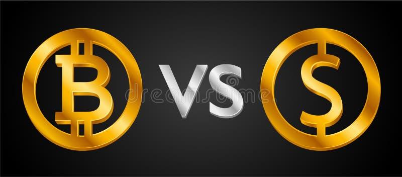 Projektuje kreatywnie pojęcie Bitcoin Cryptocurrency VS dolara amerykańskiego znaka dolara monety ikona USD waluta versus Bitcoin ilustracja wektor