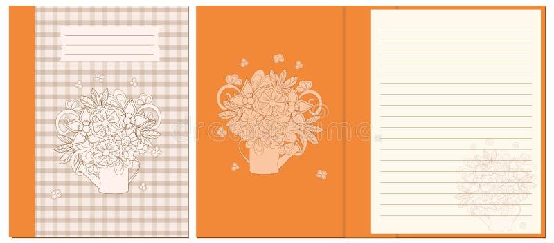 Projektuje notatnika z kwiecistym bukietem w podlewanie puszce ilustracja wektor