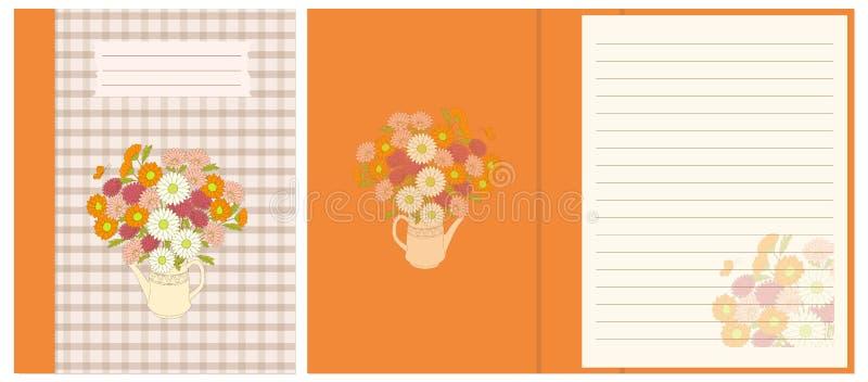 Projektuje notatnika z kwiecistym bukietem w teapot ilustracja wektor